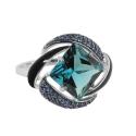 Кольцо, серебро, синие фианиты, эмаль. Ювелирный завод SOKOLOV.