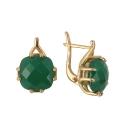 Серьги, золото, зеленый агат. Ювелирная компания