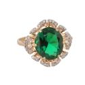Кольцо, золото, зеленый кварц, фианиты. Ювелирная компания