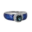 Кольцо, серебро, лондон топаз, фианиты, эмаль. Ювелирная компания