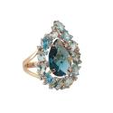 Кольцо, золото, лондон-топаз, голубой топаз, фианиты. Ювелирная компания