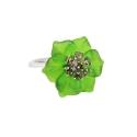 Кольцо, серебро, зеленый кварц, фианиты. Ювелирная компания
