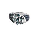 Кольцо, серебро, лондон топаз, фианиты. Ювелирная компания