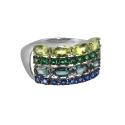 Кольцо, серебро, цветные фианиты. Ювелирная компания
