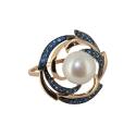 Кольцо, золото, жемчуг, фианиты. Ювелирная компания