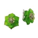 Серьги, серебро, зеленый кварц, фианиты. Ювелирная компания