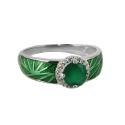 Кольцо, серебро, зеленый кварц, эмаль. Ювелирная компания