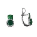 Серьги, серебро, зеленый кварц, фианиты, эмаль. Ювелирная компания
