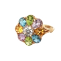 Кольцо, позолоченное серебро, хризолит, цитрин, аметист, голубой топаз, горный хрусталь. Ювелирная компания