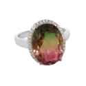 Кольцо, серебро, радужный кварц, фианиты. Ювелирная компания