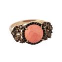 Кольцо,  золото, коралл, раух топаз и фианиты.  Ювелирная компания