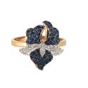Кольцо,  золото, синие и белые  фианиты.  Ювелирная компания