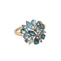 Кольцо,  золото, голубой топаз.  Ювелирная компания