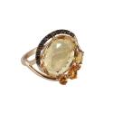 Кольцо,  золото, цитрины, черные фианиты.  Ювелирная компания