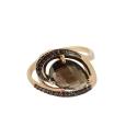 Кольцо,  золото, дымчатый топаз, черные фианиты.  Ювелирная компания