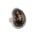 Кольцо,  серебро, раух топаз, фианиты.  Ювелирная компания