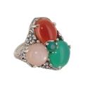 Кольцо, серебро, розовый кварц, сердолик, зеленый агат. Ювелирная компания