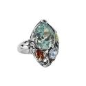 Кольцо, серебро, лондон топаз, голубой топаз, гранат, хризолит. Ювелирная компания