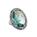 Кольцо, серебро, зеленый кварц, цветные фианиты. Ювелирная компания