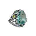 Кольцо, серебро, голубой топаз, хризолит. Ювелирная компания