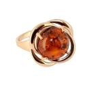 Кольцо, позолоченное серебро, янтарь. Ювелирная компания