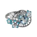 Кольцо, серебро, голубой топаз, эмаль, фианиты, Ювелирная компания SOKOLOV