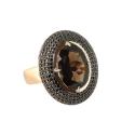 Кольцо, золото, раух топаз, черные фианиты. Ювелирная компания