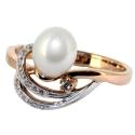 Золото кольцо жемчуг и фианиты.  Ювелирная компания МАБЭ