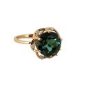 """Кольцо, золото, зеленый кварц, фианиты. Ювелирная компания """"МАБЭ""""."""