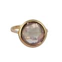 Кольцо, золото,  розовый кварц.  Ювелирная компания