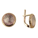 Серьги, золото,  розовый кварц.  Ювелирная компания