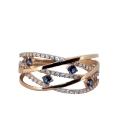 Кольцо, золото,  сапфиры, фианиты.  Ювелирная компания