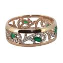 Кольцо, золото, изумруды, фианиты.  Ювелирная компания