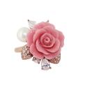 Кольцо  позолоченное серебро, искусственный коралл, жемчуг, фианиты.  Ювелирная компания