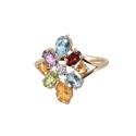 Кольцо,  золото, голубой топаз, цитрин, хризолит, аметист, фианит.  Ювелирная компания
