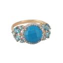 Кольцо,  золото, бирюза, голубой топаз.  Ювелирная компания