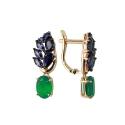Серьги,  золото, зеленый агат, синий шпинель.  Ювелирная компания