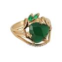 Кольцо,  золото, зеленый агат, фианиты.  Ювелирная компания