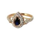 Кольцо,  золото, синий шпинель, фианиты.  Ювелирная компания