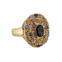 """Кольцо, золото, разноцветные сапфиры. Ювелирная компания """"МАБЭ"""""""