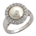 серебряные украшения кольцо  жемчуг фианиты ювелирная компания МАБЭ