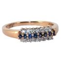 Золотое кольцо с сапфирами и бриллиантами дорожка ювелирная компания МАБЭ