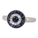 Белое золото кольцо сапфиры и бриллианты  ювелирная компания МАБЭ