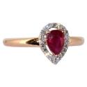 Золотое кольцо  рубин и бриллианты капля ювелирная компания МАБЭ
