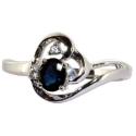 Белое золото кольцо сапфир и бриллианты  ювелирная компания МАБЭ