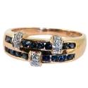 золотое кольцо с сапфирами и бриллиантами двойная дорожка ювелирная компания МАБЭ