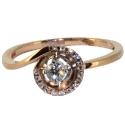 золотое кольцо с крупным и мелкими бриллиантами круглая дорожка ювелирная компания МАБЭ