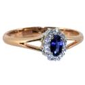 золотое кольцо с белым золотом  бриллиантами и сапфиром малинка ювелирная компания МАБЭ
