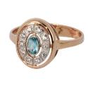 Золотое кольцо  голубой топаз и бриллианты  ювелирная компания МАБЭ