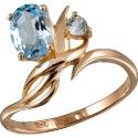 золотое кольцо голубой топаз Ювелирная компания МАБЭ